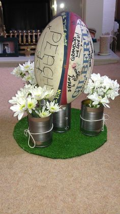 Rugby ball centerpiece that could be fun