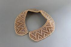 Vintage Collar / 1950s Champagne Pearl Collar / 60s Beaded Collar. $36.00, via Etsy.