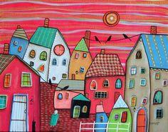 Red Sky ORIGINAL CANVAS PAINTING 16x20 inch FOLK ART houses cats birds Karla G #FolkArtAbstractPrimitive: