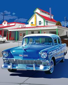 How beautiful cars were back in the 1950s! Print is of a 1956 Chevrolet.