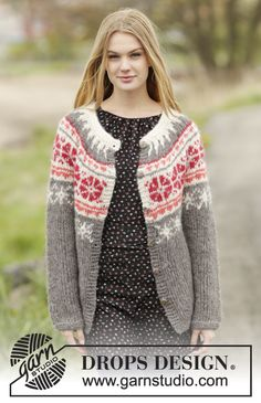 """Knitted DROPS jacket with round yoke and Nordic pattern, worked top down in 2 strands """"Brushed Alpaca Silk"""" or 1 strand """"Melody"""". Size: S - XXXL. ~ DROPS Design"""