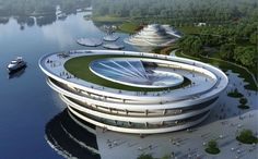 Bicycle Park Oasis - Wonderful architecture for a huge bicycle park being constructed in Chongming Island, China