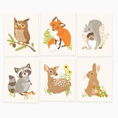 "Our woodland set brings woodsy appeal to a forest-themed nursery or playroom. Includes owl, fox, squirrel, raccoon, deer and rabbit. This set coordinates nicely with our woodland growth chart and ""Jus"
