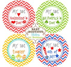 Baby Month Milestone Stickers, Monthly Sticker, Baby Monthly Stickers,Bodysuit, Baby Shower Gift Neutral Chevron - Baby's First Holidays on Etsy, $6.00
