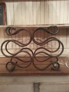 Vintage Wrought Iron Wine Rack - Spanish Revival - Small Wine Rack - Rusty Wine Rack - Rustic Wine Rack - Wine Rack - Iron Wine Rack by MyHailiesHaven on Etsy