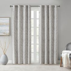 The SunSmart Everly Branch Jacquard Total Blackout Window Panel offers a stunning modern update to your home decor. This silver curtain panel flaunts a branch jacquard tonal textured design with a luxe sheen that creates a gorgeous contemporary look. Contemporary Curtains, Modern Contemporary, Window Panels, Window Curtains, Silver Curtains, Light Blocking Curtains, Curtain Styles, Blackout Curtains, Home Decor Outlet