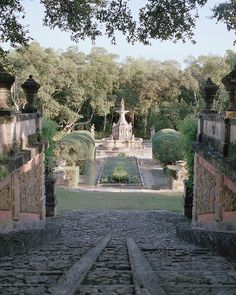 Fizcaya - A view of the Fountain Garden, whose fountain was carved around 1772 by the same studio that crafted the one in front of Rome's Pantheon
