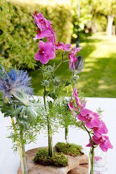 Wedding Elisenda&Nico Montaje para centro de mesa sobre tronco de pino con phalenopsis y eringyum El Taller de Joan
