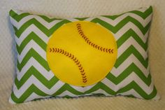Softball Lime Green Chevron 14x20 inch Throw Pillow by DuxiDesign, $35.00