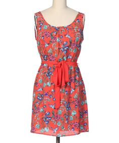 Another great find on #zulily! Orange & Blue Floral Sleeveless Dress by Hello Miss #zulilyfinds