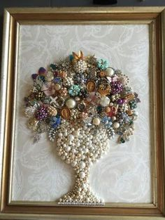 My Grandmas jewelry box ( full of costume and vintage pieces) made a beautiful bouquet for my aunt to remember her by..one of my favorites by dorthy