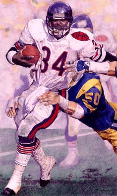 #BEARS #Sweetness #BearsNation Walter Payton, Chicago Bears 1996  by Matthew Campbell 8 x 11 inches.
