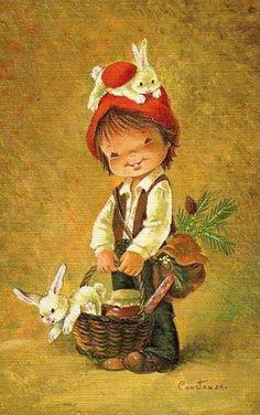 Vintage Big Eyed Boy ~ by Constanza Christmas Illustration, Cute Illustration, Vintage Easter, Vintage Christmas, Hobby Lobby Christmas Trees, Clipart Noel, Vintage Postcards, Vintage Cards, Sarah Kay