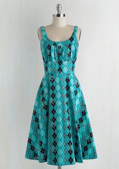 Eclectic Stride Dress. Glide through the day with quirky-infused glam in this teal dress! #blue #modcloth