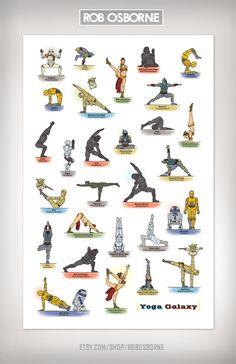 Star Wars GALAXY YOGA Art Print 11x17 by Rob Osborne by RobOsborne, $19.00