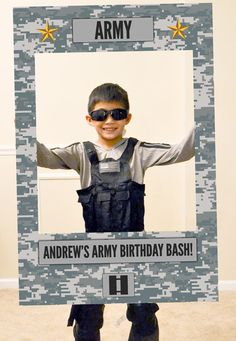 Army and Spy Theme Photo Booth. Digital file only. by Imajenit Army Party, Nerf Party, Party Props, Army Birthday Parties, Army's Birthday, Military Send Off Party Ideas, Soldier Party, Deployment Party, Paintball Birthday