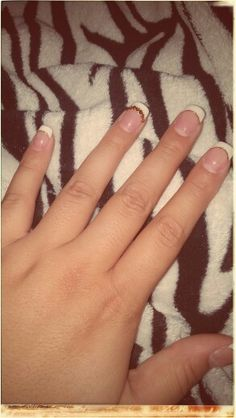 Nails #gold #french #stones #pretty #white #acrylic