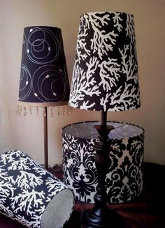 Black damask drum and cones. CMB Designs Lamps and Shades