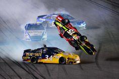 Clint Bowyer's #15 car flipping at Daytona, 2/20/14. http://www.pinterest.com/jr88rules/nascar-2014/ #NASCAR2014