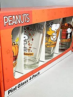 Peanuts Thanksgiving Snoopy & Friends Drinking Glasses Collectors Series Set of Four 16oz Brand New