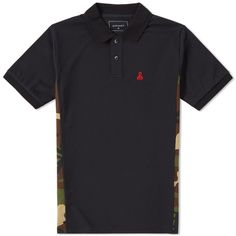 SOPHNET. Camouflage Side Panel Polo (Black)