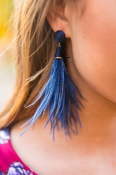 Cocktail Please Feather Earrings in Navy
