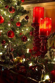 Beautiful Christmas Tree And Candles Christmas Photo, Noel Christmas, Green Christmas, Country Christmas, Winter Christmas, All Things Christmas, Christmas Crafts, Merry Chistmas, Nordic Christmas