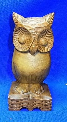 Vintage German Handicraft Wood Carved Owl Figure
