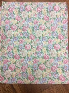 """CANNON SHEET FLORAL """"FULL"""" FLAT ROSES SWEET COUNTRY CHARM PINK BLUE YELLOW WOW! #Cannon #Country"""