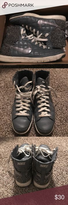 Mid Nike Blazer Flint grey/metallic silver. These have been worn. Shoestrings will need to be replaced. Light creasing on the front of the shoe. Nike Shoes Sneakers