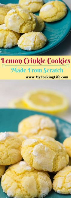 These Lemon Crinkle Cookies from Scratch are delicious and have the perfect lemon flavor. Creates the perfect crinkle every time. Easy cookie recipe. Spring recipe. Baked goods.