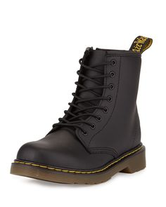 Delaney Matte Leather Military Boot, Black, Youth
