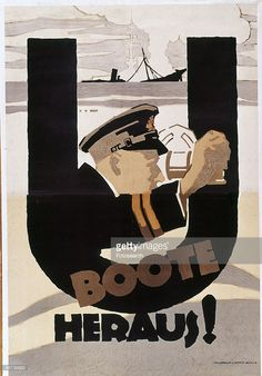 UBoote Heraus (The U-boats are Out!) | War poster by Hans Rudi Erdt | German Wartime Propaganda | First World War | Sachplakat Style