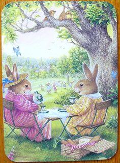 by Susan Wheeler...Grandma and Grandpa Rabbit take tea:):)