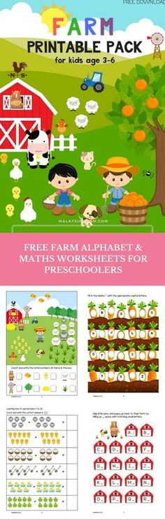 Farm preschool theme activities   Crafts   Math   Printables   Literacy   Worksheets   Ideas   Units   Kindergarten   more free printables @malaysian_mom