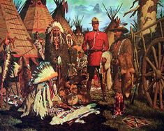 Arnold Friberg's Mounties Fur Trade, Indian Village, Canadian History, Oil Painters, Le Far West, Norman Rockwell, Military Art, Old West, The Good Old Days