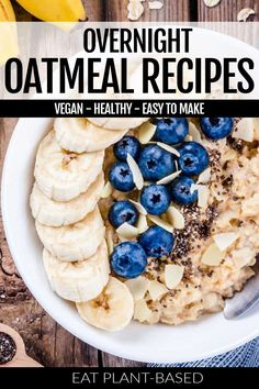 These vegan overnight oatmeal recipes from EatPlant-Based are a healthy breakfast option. Such an easy option for breakfast! This quick overnight oatmeal allows you to prep in minutes the night before and then have breakfast in-hand first thing in the morning! You can prepare these overnight oats either in a jar or a bowl. There are two different flavor suggestions for you!