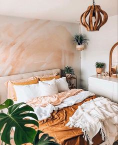 This beautiful boho bedroom is perfect for your bright minimalist home Bring a touch of colour with this pink and orange abstract removable wall mural bohemian decor bohemian wallpaper abstract wallpaper Room Ideas Bedroom, Home Bedroom, Bright Bedroom Ideas, Nature Bedroom, Urban Bedroom, Bedroom Modern, Bedroom Designs, Earth Tone Bedroom, Colourful Bedroom
