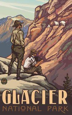 Vintage travel poster for Glacier National Park, Montana Vintage Travel Posters, Vintage Postcards, Vintage Ads, Poster Vintage, Vintage National Park Posters, Old Poster, Big Sky Country, National Parks Usa, Park Rangers