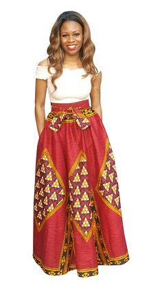 ⭐Tap the link to shop⭐Dupsie's Red African Print Diamond High Waist Maxi Skirt⭐ African Dresses For Women, African Attire, African Fashion Dresses, African Women, Ankara Fashion, African Outfits, Fashion Skirts, African Print Skirt, African Print Dresses