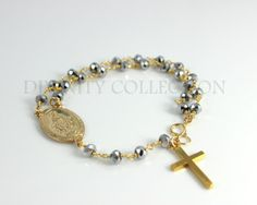 Rosary Bracelet Gunmetal Crystals Large by divinitycollection