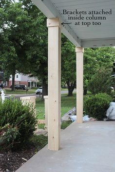 DIY Craftsman Style Porch Columns - Shades of Blue Interiors How to wrap existing porch columns in stained wood and build a craftsman style base unit to add character and curb appeal to your front porch. Front Porch Posts, Front Porch Columns, Porch Column Wraps, How To Build Porch Columns, Cedar Porch Posts, Porch Post Wraps, House Columns, Front Porches, House With Porch