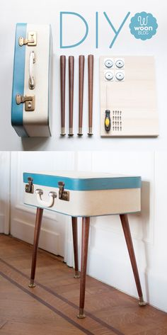 Fun suitcase table. Choose a 50's suitcase, add those tapered legs and hey presto, one side table is born.