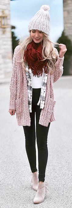 #winter #outfits brown knitted cardigan and gray knitted beanie