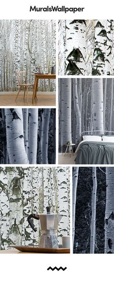 These birch tree wallpaper murals are perfect for creating a nature inspired space in any room of the home. Creating an accent tree wall add depth and dimention to a space, creating the perfect backdrop for styling a small space. Choosing a mural tha Wood Effect Wallpaper, Tree Wallpaper Mural, Forest Wallpaper, Nature Wallpaper, Wallpaper Murals, Slim Tree, Real Wood, Wall Murals, Interior Design