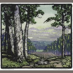 Frances Hammell Gearhart (1869-1958) Away & Beyond, 1927 Woodcut in colors on Japanese paper, signed in pencil and titled, with margins, framed. 9 1/8 x 9 7/8in sheet 10 3/8 X 12 1/8in Sold for US$ 4,750 inc. premium