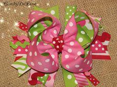 Strawberry Shortcake  XL 6  Bow by CandyDeLane on Etsy, $12.00