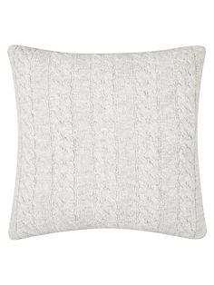 Buy Grey Croft Collection Cable Knit Cushion from our Cushions range at John Lewis & Partners. Knitted Cushions, Soft Furnishings, Cable Knit, Cosy, Neutral, Throw Pillows, Knitting, Stuff To Buy, Tricot