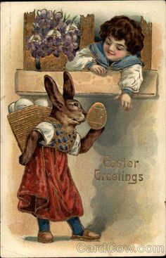Bunny Hands Egg to Boy in Window Easter Greetings
