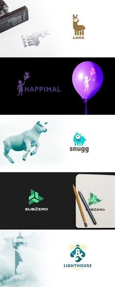 Logo collection 2017 pt.3 #logo #logodesign #design #vector #brand #identity #brandidentity #abstract #creative #kreatank #illustration #lama #sheep #lighthouse #balloon #child #kids #negative #space #negativespace